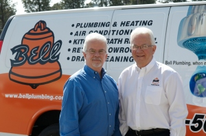 Bell Plumbing & Heating Company owners Gary Bell (left) and Larry Bell
