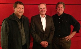 In studio (from left) - Tom Cech, Jim Lochhead and Rik Sargent