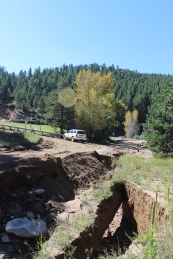 Gross Dam Road experienced significant damage as a result of the storms.