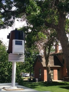 Auraria's new weather station at Ninth Street Historic Park was installed in 2013 thanks to grants by the Sustainable Campus Program at Auraria and the Governor's Pollution Prevention Advisory Board. The system reports evapotranspiration data to the centralized irrigation scheduling system in an effort to save water.