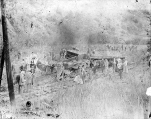 Train engineer Billy Westall died in this train wreck after he slowed the train so all 450 passengers and crew members could escape the pending crash. Photo courtesy of the Denver Public Library, Western History Collection