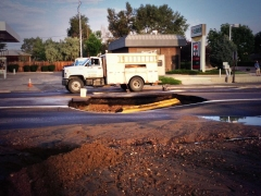 A meain break at Sheridan Boulevard and Fifth Avenue in July 2013 stopped traffic. Denver Water spent more than $2 million on main breaks and leaks last year.