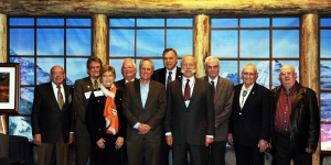 Denver Water CEO/Manager Jim Lochhead, front row center, stands with past winners of the Aspinall Award.