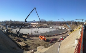 On Jan. 18, 2014, crews poured more than 1,200 cubic yards of concrete throughout the day to create a 256-foot-diameter concrete base slab for a new underground storage tank at Ashland Reservoir.