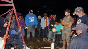 Prayers were answered with a successful new well on the fourth night in the village.