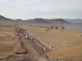 Crews work on excavating Antero Dam this past October as part of the rehabilitation project that began in 2013.
