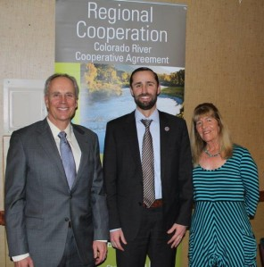 In February 2014, Jim Lochhead (left) stood with James Eklund, Colorado Water Conservation Board director, and Karen Stiegelmeier, Summit County Commissioner, to celebrate the Colorado River Cooperative Agreement.