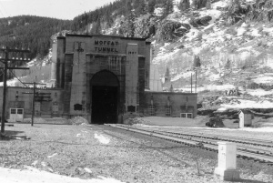 The water tunnel is the pilot bore next to the famous railroad tunnel, pictured here in 1956.