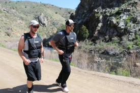 Heath Stuerke (left) and James Gordon walk the Pack Test in Waterton Canyon.