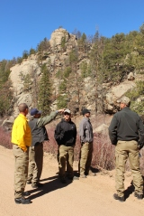 Strike team members evaluate evacuation routes in Eleven Mile Canyon.