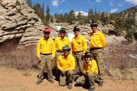 Denver Water's emergency Strike Team. Front row: James Gordon(left), William George (right). Back row: Heath Stuerke, Jay Joslyn, Jeff Rybolt and Rick Geise.