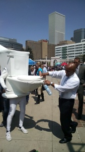Denver Water's Running Toilet celebrates Earth Day with Denver Mayor Michael Hancock.