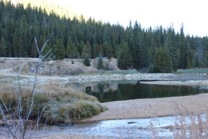 Denver Water's diversion pond before sediment was removed in October. The diversion pond was redesigned to capture traction sand.