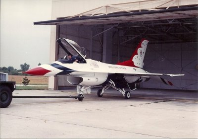 Jim Dye in the cockpit of a Thunderbird performing an engine run.