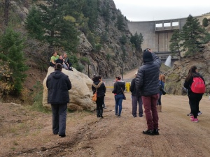 Community members from Westwood Unidos explore at the base of Strontia Springs dam,