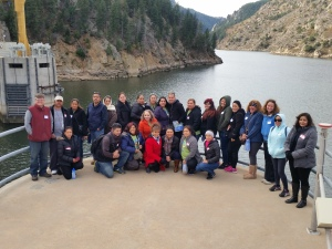 The Westwood Unidos tour group gets an up-close look at their water supply in Strontia Springs Reservoir.