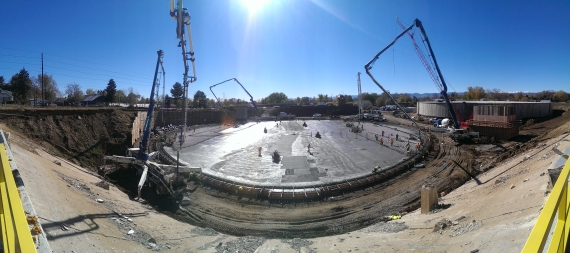 Denver Water is in the middle of a decade-long, $120-million upgrade to many underground treated water storage tanks, like Ashland Reservoir, where the two existing tanks have been demolished and are being replaced. In November 2015, crews placed roughly 1,250 cubic yards of concrete for a new floor slab on tank 1.
