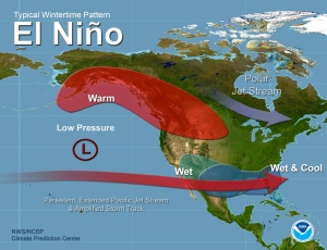 This map of a typical El Nino weather pattern shows Colorado right on the edge of moisture impacts. (Courtesy: National Weather Service)