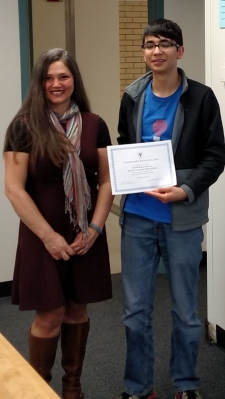 Denver Water's Diana Benedict, left, mentored 11th grader David Ramos-Rivera on programming and computer science.
