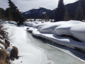 The frozen Snake River east of Keystone is one of Dillon Reservoir's three main tributaries.