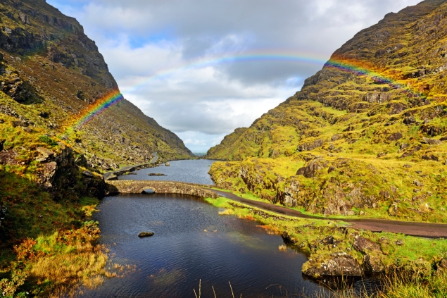 Rainbow over bridge and lake in the Gap of Dunloe, County Kerry, Ireland. (Courtesy ©iStock.com/stevegeer)