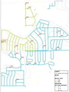 This map shows the locations of 18 breaks across 65,000 feet of pipe in west Centennial since 2013.