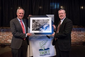 Denver Water CEO Jim Lochhead (left), accepts the 2016 River Stewardship Award from Colorado Trout Unlimited executive director David Nickum.