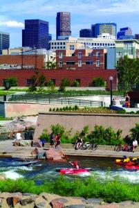 The South Platte River running through Confluence Park in Denver.
