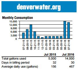 Image of actual customer's water use through July