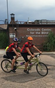 Nathan Elder and Susan Gengler starting their ride at Colorado Center for the Blind in Littleton.