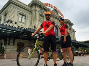 Nathan Elder and Susan Gengler, former administrative assistant in the Planning Department for Denver Water, in front of Union Station after a ride from the Colorado Center for the Blind in Littleton, along the South Platte.