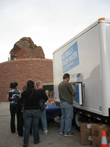 Denver Water's water trailer was debuted during the 2008 Democratic National Convention, when it was used to hydrate convention goers at various events, including one at Red Rocks Amphitheatre, pictured here.