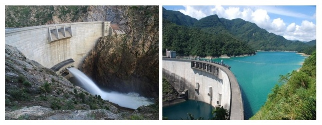 "Strontia Springs Dam (left) and Feitsui Dam in Taiwan have been ""sister dams"" since 1984. (Photo courtesy of Taipei Feitsui Reservoir Administration)"