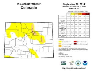 The latest Drought Map for Colorado shows the impact of our recent hot, dry weather. (Photo courtesy of United States Drought Monitor.)