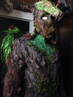 It took a year for McCoy to finish this tree dragon costume, made from bark from a tree in his backyard.