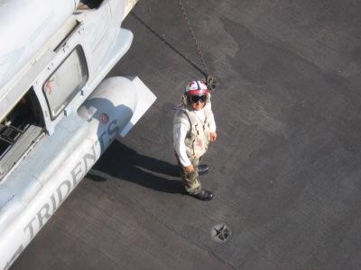 Montez on flight deck during Operation Iraqi Freedom.