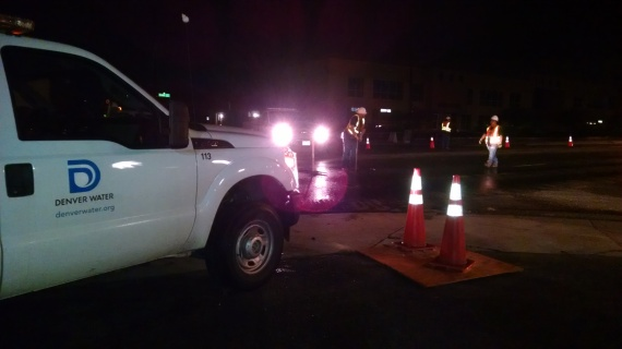 Emergency services conducts night work to repair a leak
