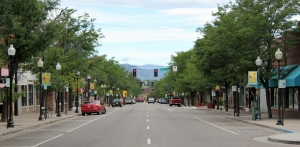 View of mountains looking down Littleton main street.