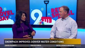 On Jan. 5, water supply manager Dave Bennett talked to 9News reporter Colleen Ferreira about the improved snowpack levels in Denver Water's collection area.